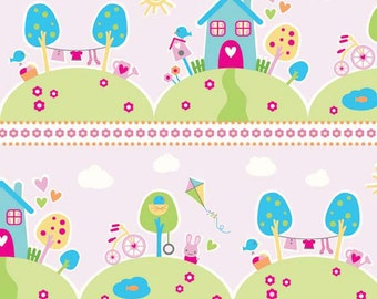 Sweet Home Riley Blake Fabric - Half Yard Main in Pink