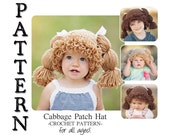 PATTERN-- Cabbage Patch Crochet Hat for All Ages!