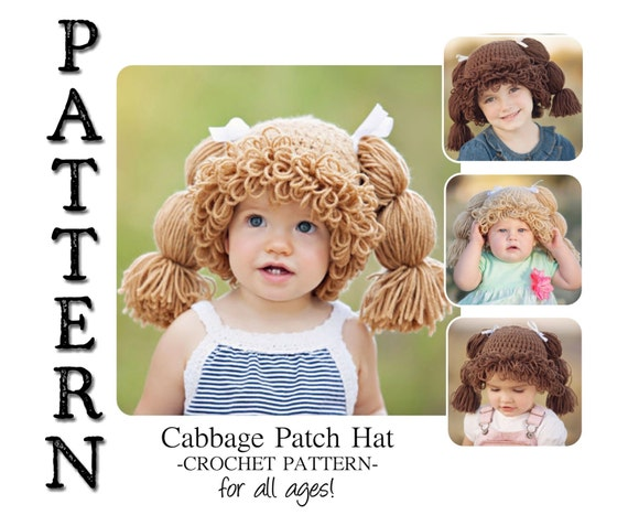 PATTERN-- Cabbage Patch Crochet Hat for All Ages! from BurlyBeardco on Etsy S...