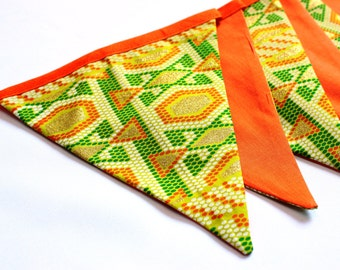 African fabric bunting, garland, garden party decoration, green and orange bunting