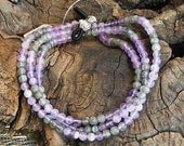"Purple amethyst and gray labradorite eyeglass holder 29"" long subtle flash eye glass chain semiprecious stone jewelry in a gift bag 1368"