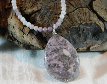 """Purple lepidolite necklace 20"""" long reversible teardrop pegmatite pendant semiprecious stone jewelry packaged in a gift bag 11076"""