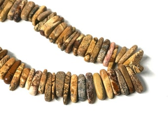 Picture Jasper hawaiian chip beads, extra large XL, top drilled natural gemstone FULL bead strand (1060S)
