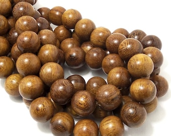 Robles Wood, 14mm - 15mm, Natural Wood Beads, Round, Smooth, Large, Full Strand, 28pcs - ID 1461