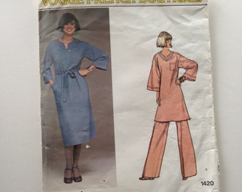 70s Vogue 1420 Vogue Renata Loose Fitting Pullover Dress or Tunic and Pants Wide Leg French Boutique Size 12 Bust 34