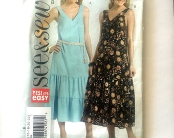 Butterick 5010 Sleeveless Pullover Dress, V Neck with Ruffle Tiers See and Sew Size 16 18 20 22 Bust 38 40 42 44