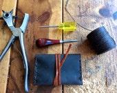 Leather card wallet - Man wallet, slim leather wallet, handmade ID holder, brown leather badge holder