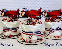 Mini Baby Diaper Cup Cakes 3 Retro Airplanes Shower Gift or Centerpiece