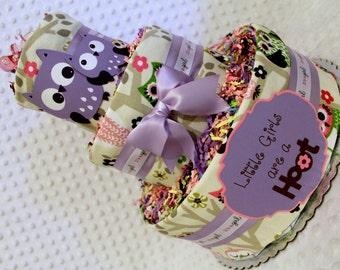 Purple Owls Baby Diaper Cake Shower Gift or Centerpiece