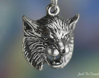 Sterling Silver Bobcat or Lynx Charm Wild Animal or Mascot Solid .925