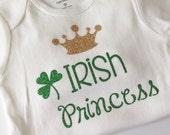 St. Patrick's Day shirt, bodysuit, green glitter, baby girl, toddler, glitter tee, glitter shirt, Irish Princess, Shamrock