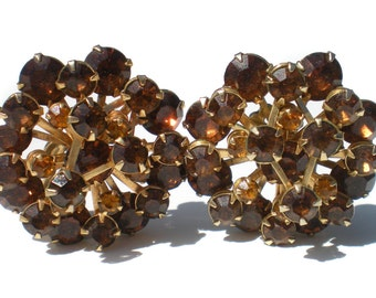 Amber & Gold Rhinestone Clip On Earrings with Tiered Prong Setting on Gold Tone Metal - Formal Vintage Jewelry Gift Idea For Her