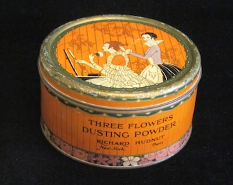 Richard Hudnut Three Flowers Powder Tin Vintage 1920s Antique Dusting Powder Tin Colorful Litho Graphics