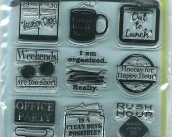 Rubber Stamp Set  --  NEW  --  Out To Lunch  Inchie Bundles Stamps --  Inkadinkado Brand.  (#1045)