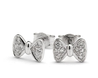 Mini Stunning Diamond Bow Tie Stud Earrings in 18k White Gold