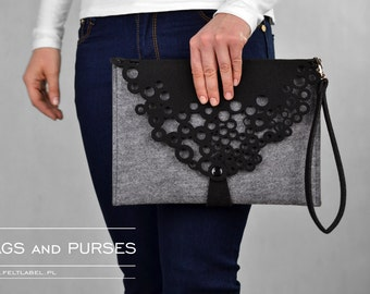 Grey felt bag, GreyLetter, grey felt, black, lace, clutch, crossbody bag