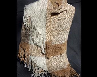 Hand spun, Handwoven Alpaca Triangle Loom Shawl