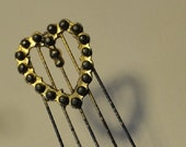 Wedding Hair comb, Vintage Heart Comb, beaded hair accessory