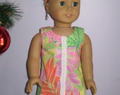 American Girl Doll Dress, Handmade Lilly Pulitzer Shift Dress with Headband