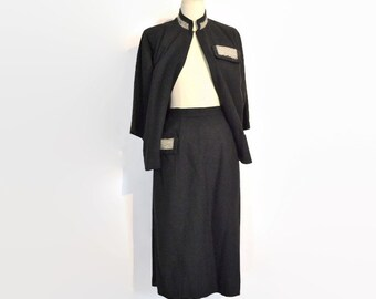 Vintage 1950's /  1960's Suit // Charcoal Grey Wool // Two Piece Skirt Suit by Junior Fashions by Carole King