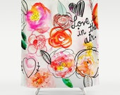 Love is in the Air Colorful Floral Watercolor Shower Curtain. Pretty pink, orange, red, and black doodle floral print for Valentine's Day.