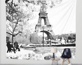 Black and white Eiffel Tower Watercolor Painting Print Wall Tapestry // Wall Hanging.