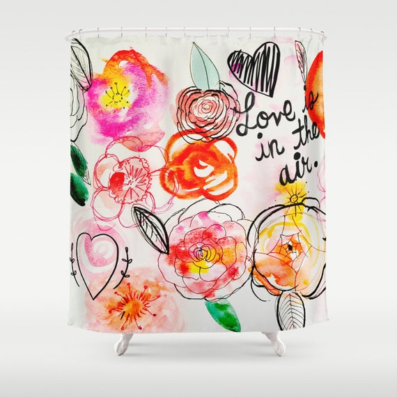 Love is in the Air Colorful Floral Watercolor Shower Curtain. Pretty ...