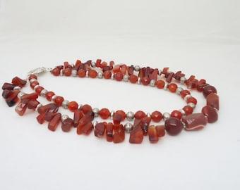 Carnelian Necklace, Carnelian Chunky Necklace, Carnelian Multistrand Necklace, UK Seller