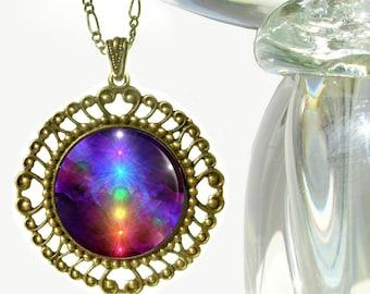 "Chakra Jewelry, Rainbow Necklace, Energy Art Pendant ""Chakra Healing"""