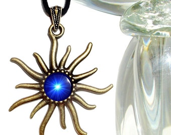 Throat Chakra Necklace, Vivid Blue Pendant, Reiki Sun