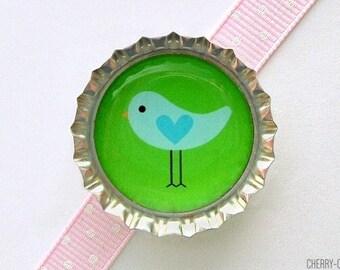 Bird Blue & Green Bottle Cap Magnet - bird magnet party favor woodland baby shower, little bird birthday party, bird theme baby shower favor
