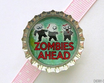 Zombies Ahead Bottle Cap Magnet - boyfriend birthday gift, for boyfriend zombie magnet, zombie home decor, zombie party favor zombie kitchen