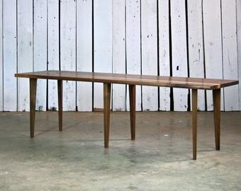 danish modern walnut bench