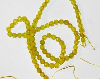 4mm GENUINE yellowish green  PERIDOT round faceted gemstone beads, 15 inch strand, hg221