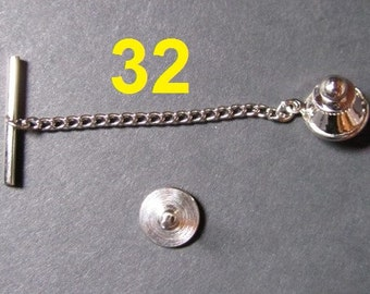 32 Sets - Silver Tone Tie Tacks (Spring Loaded Clutch and Chain)