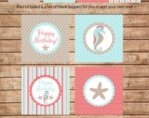 Beach and Ocean Theme Birthday Cupcake Toppers in Aqua and Coral with starfish, seahorse Printable file only