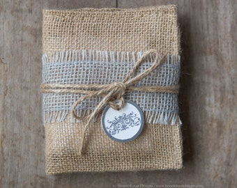Burlap Gift Bag, Small Burlap bag with hand stamped gift tag set