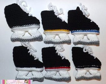 Crochet baby skate slippers choose trim color