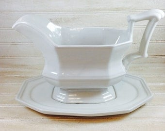 Vintage Red Cliff Large Ironstone Gravy Boat and Underplate