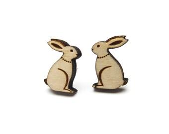 Woodland hare earrings ~ laser cut jewellery
