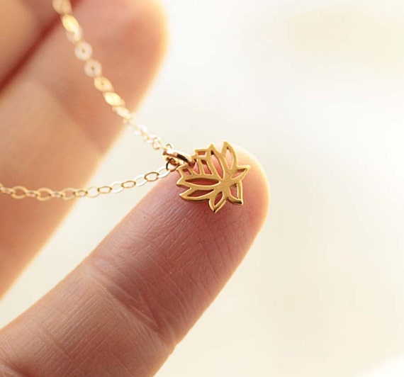 Tiny lotus necklace lotus flower charm tiny charm necklace for Gemsprouts tiny plant jewelry