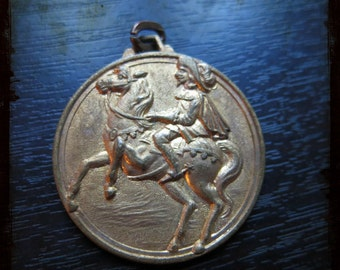 Vintage French Cognac royal musketeer riding a horse Golden medal - Large pendant Jewelry from France