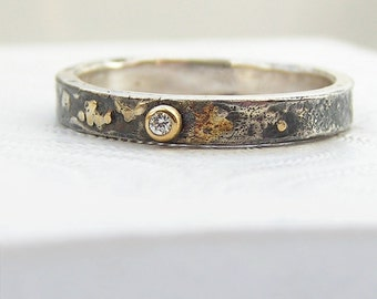 Gold Chaos - Tiny Diamond, Oxidized Silver and 18kt Gold Alternative Rustic Engagement Ring