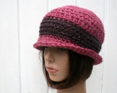Crochet vintage style hat - winter - pink and wine colour - wool and acrylic - Made in France