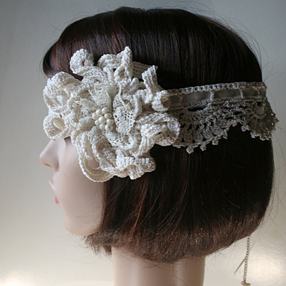 Crochet Hair For Wedding : Bridal headband - Crochet wedding headband - Hair wedding accessories ...