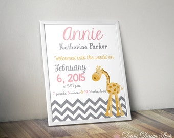Printable Birth Announcement Art Print - Nursery Name Art - Giraffe and Chevron Stripes