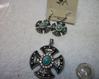 black and turquoise cross pendant and earring set