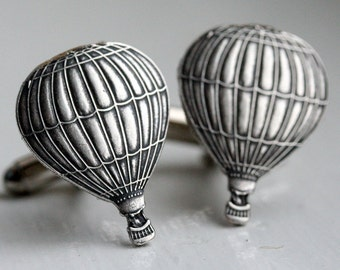 Steampunk Cufflinks Hot Air Balloon Cuff Links Silver Antique Mens World traveler Victorian Flying Wizard of Ox