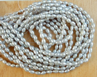 4-5mmSilver gray  rice freshwater pearl, FULL STRAND