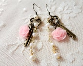 Romantic pearl, key, and pink rose dangle earrings, A Romantic Wednesday